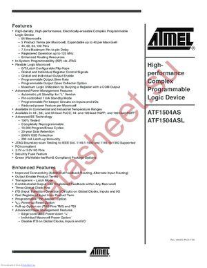 ATF1504AS-10-AU44 datasheet скачать даташит