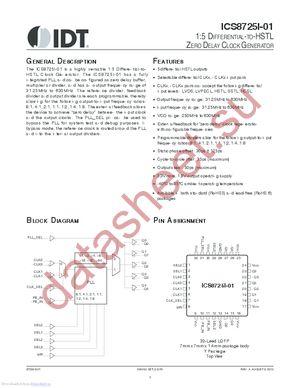 8725AYI-01LFT datasheet скачать даташит