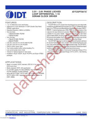 IDTCSPT857CPF datasheet скачать даташит