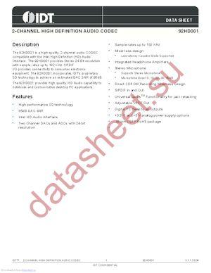 IDT92HD001XX3PRGXB1X datasheet скачать даташит