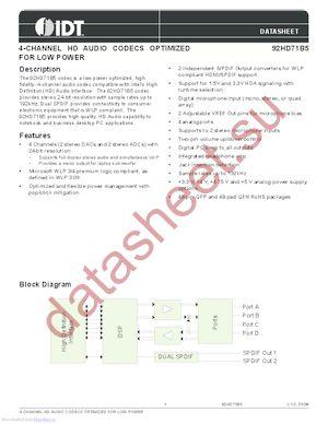 IDT92HD71B5X3PRGXB3X8 datasheet скачать даташит