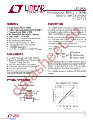 LTC6906IS6 datasheet скачать даташит