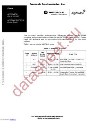 MCF5249VF140 datasheet скачать даташит