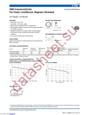 VLF4014ST-6R8M1R2 datasheet скачать даташит