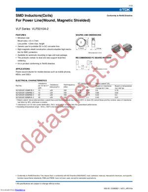VLF5010AT-100MR78-2 datasheet скачать даташит