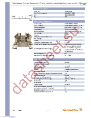102470 WDU2.5ZR datasheet скачать даташит