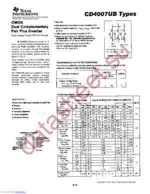 CD4007UBD datasheet скачать даташит