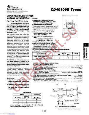 CD40109B-MIL datasheet скачать даташит