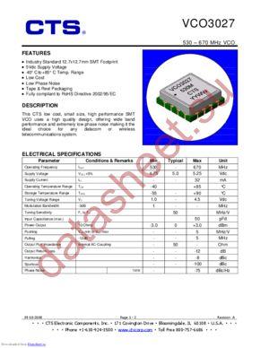 VCO3037 datasheet скачать даташит