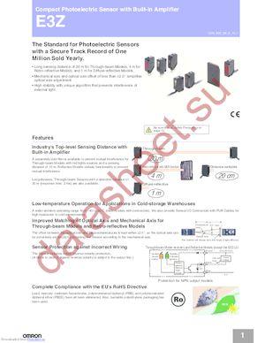 E3Z-B61 0.5M datasheet скачать даташит