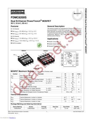 FDMC8200S datasheet скачать даташит