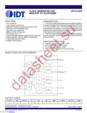 IDTCV105E datasheet скачать даташит