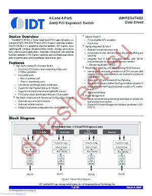IDT89HPES4T4G2ZBAL datasheet скачать даташит