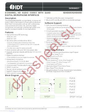 IDT92HD005DX5NLGXB2X8 datasheet скачать даташит