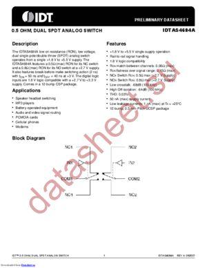 IDTAS4684AHG8 datasheet скачать даташит