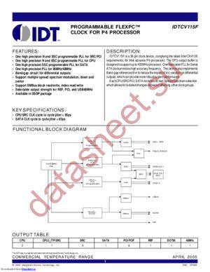 IDTCV115F datasheet скачать даташит