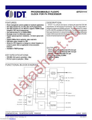 IDTCV111I datasheet скачать даташит