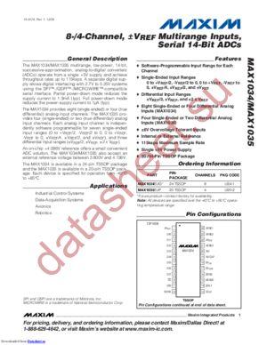 MAX1034 datasheet скачать даташит