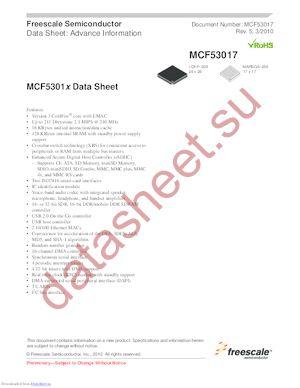 MCF53015CMJ240J datasheet скачать даташит