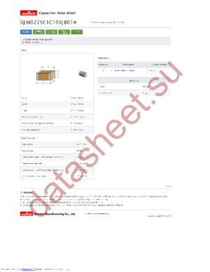 GJM0225C1C180JB01L datasheet скачать даташит