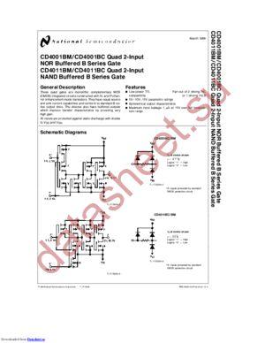 CD4011BMJ datasheet скачать даташит