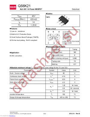 RSQ015P10TR datasheet скачать даташит