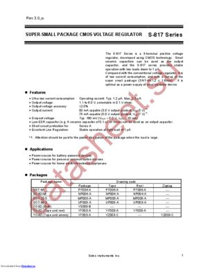 S-817B15AUA-CWE-T2 datasheet скачать даташит