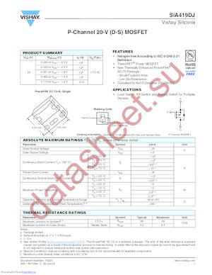 SIA419DJ-T1-E3 datasheet скачать даташит