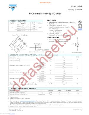 SIA427DJ-T1-GE3 datasheet скачать даташит