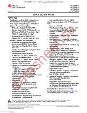 CC430F6147IRGCR datasheet скачать даташит