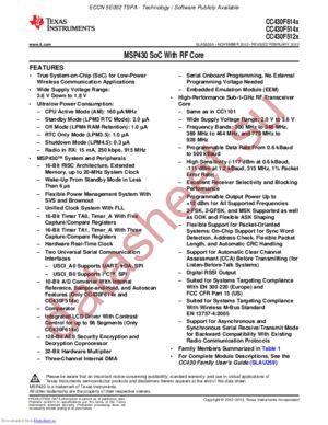 CC430F6145IRGCT datasheet скачать даташит