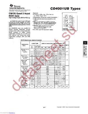 CD4001UB-MIL datasheet скачать даташит