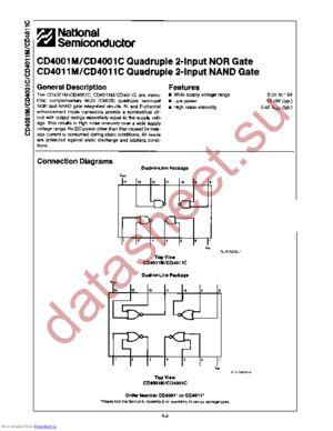 CD4001CM datasheet скачать даташит