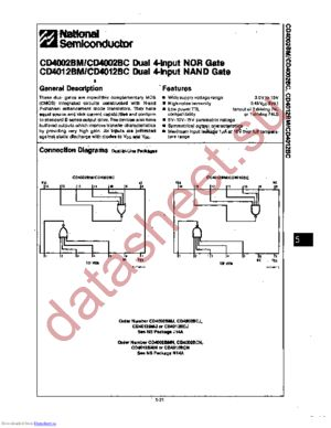 CD4002BCJ datasheet скачать даташит