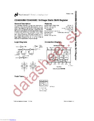 CD4006BCN datasheet скачать даташит