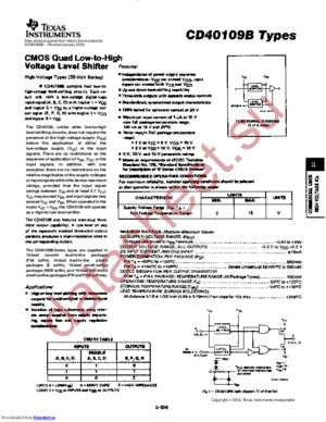 CD40109BH datasheet скачать даташит