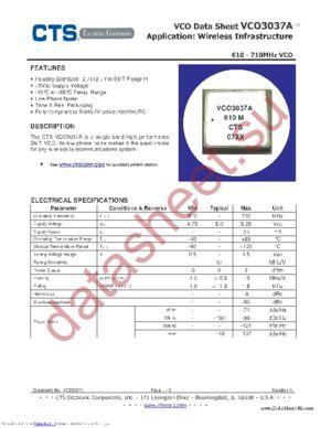 VCO3037A datasheet скачать даташит