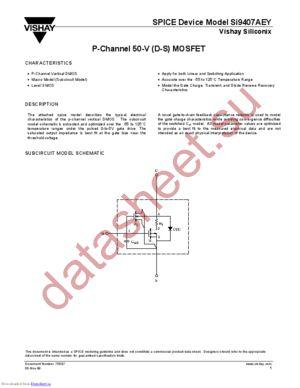SI9407AEY-DS datasheet скачать даташит