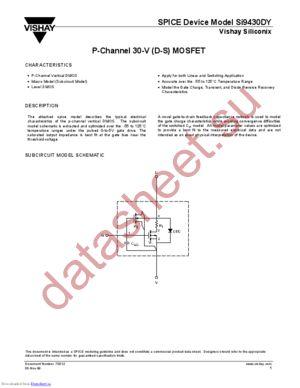 SI9430DY-DS datasheet скачать даташит