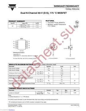 SI9945AEY-T1 datasheet скачать даташит